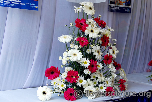 Red and white gerbera bouquet